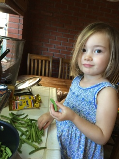 Teaching Eliza to snap beans.